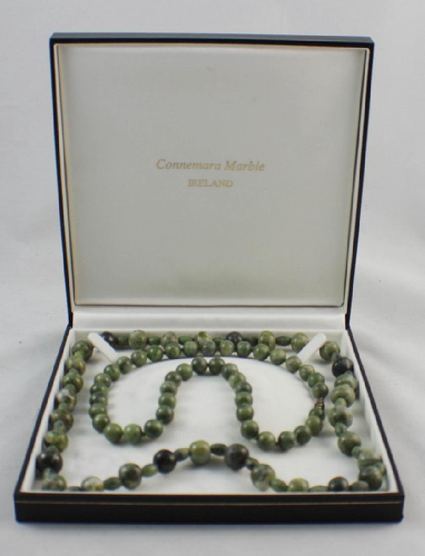 Pair Of Chinese Carved Jade Beads Necklace
