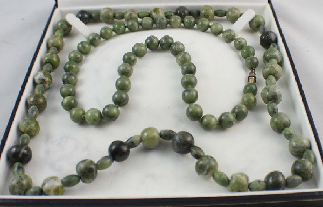 Pair Of Chinese Carved Jade Beads Necklace - 2