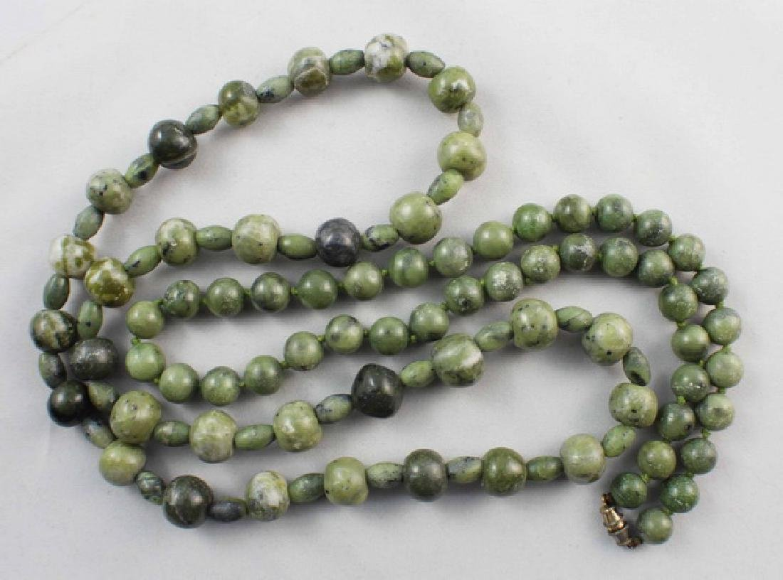 Pair Of Chinese Carved Jade Beads Necklace - 4