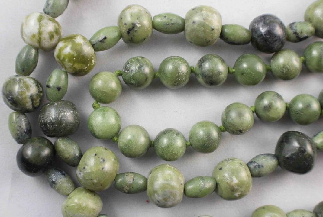 Pair Of Chinese Carved Jade Beads Necklace - 5