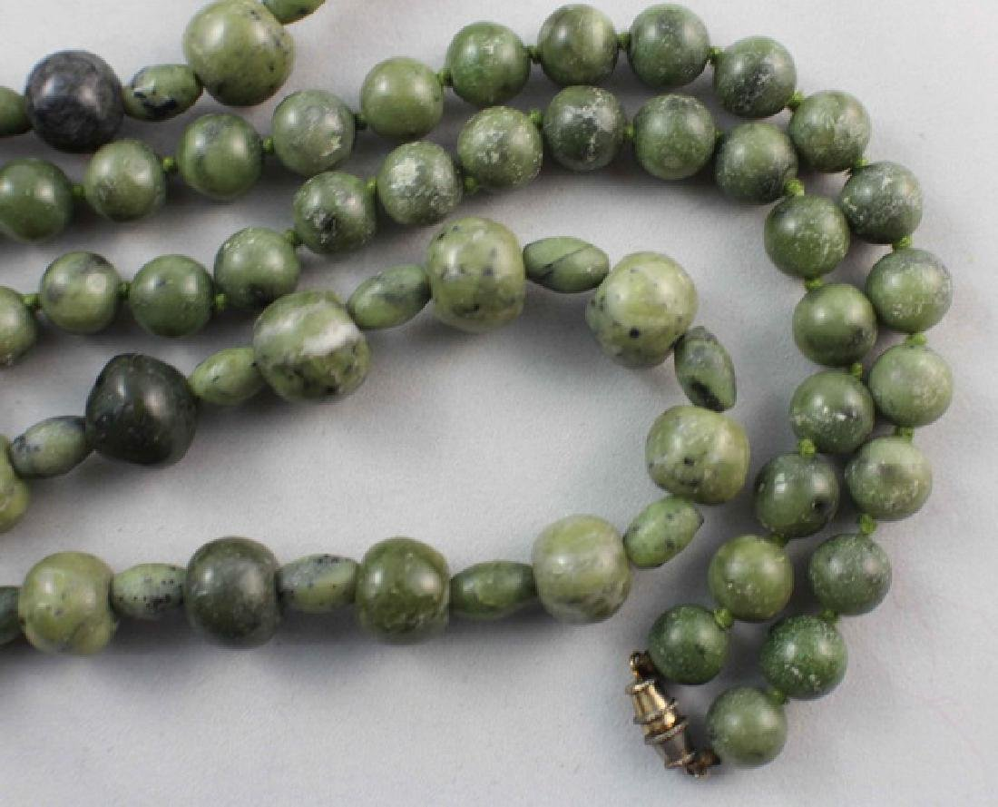 Pair Of Chinese Carved Jade Beads Necklace - 6