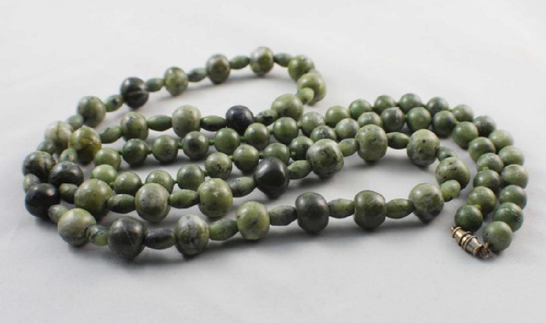 Pair Of Chinese Carved Jade Beads Necklace - 7