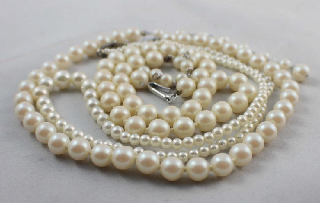 Lot Of 3 Pearl Beads Necklaces - 5