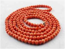 Chinese Red Coral Beads Necklace