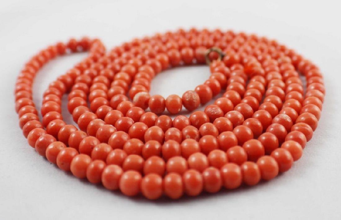 Chinese Red Coral Beads Necklace - 5