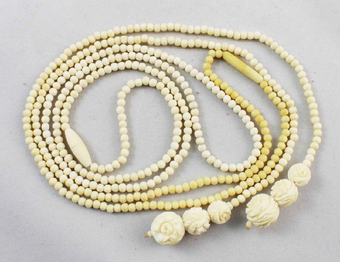 Pair Of Chinese Carved Bone Beads Necklaces