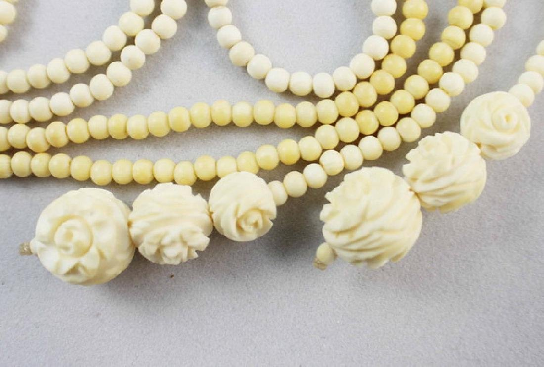 Pair Of Chinese Carved Bone Beads Necklaces - 4