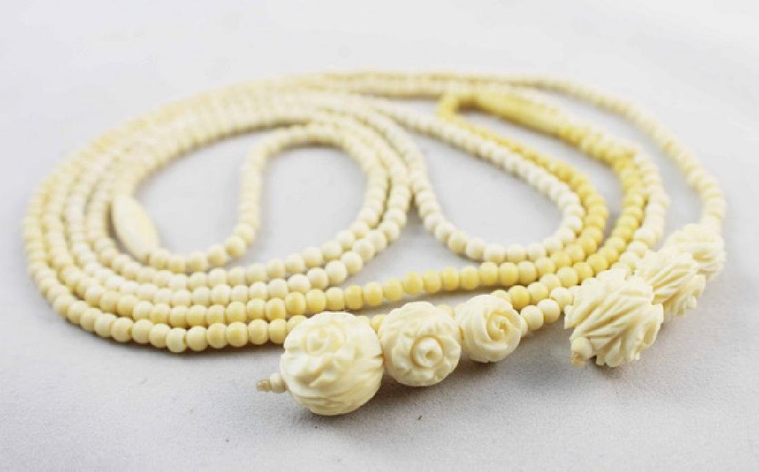 Pair Of Chinese Carved Bone Beads Necklaces - 5