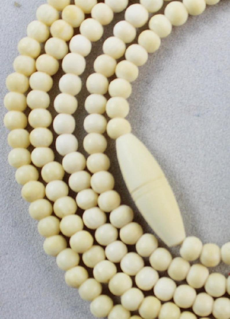 Pair Of Chinese Carved Bone Beads Necklaces - 6