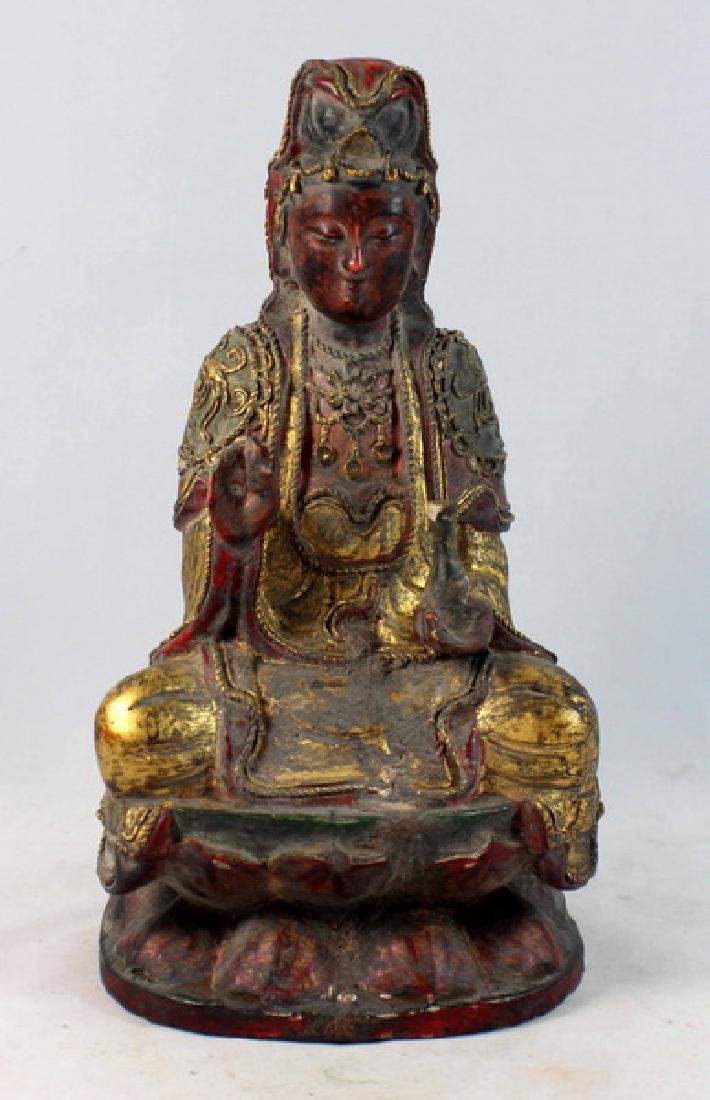 Antique Chinese Carved Gilt Wood Buddha