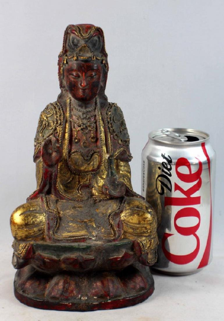 Antique Chinese Carved Gilt Wood Buddha - 2