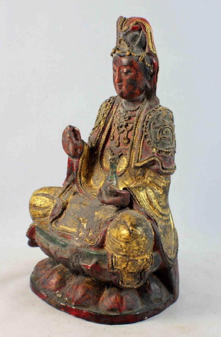 Antique Chinese Carved Gilt Wood Buddha - 5
