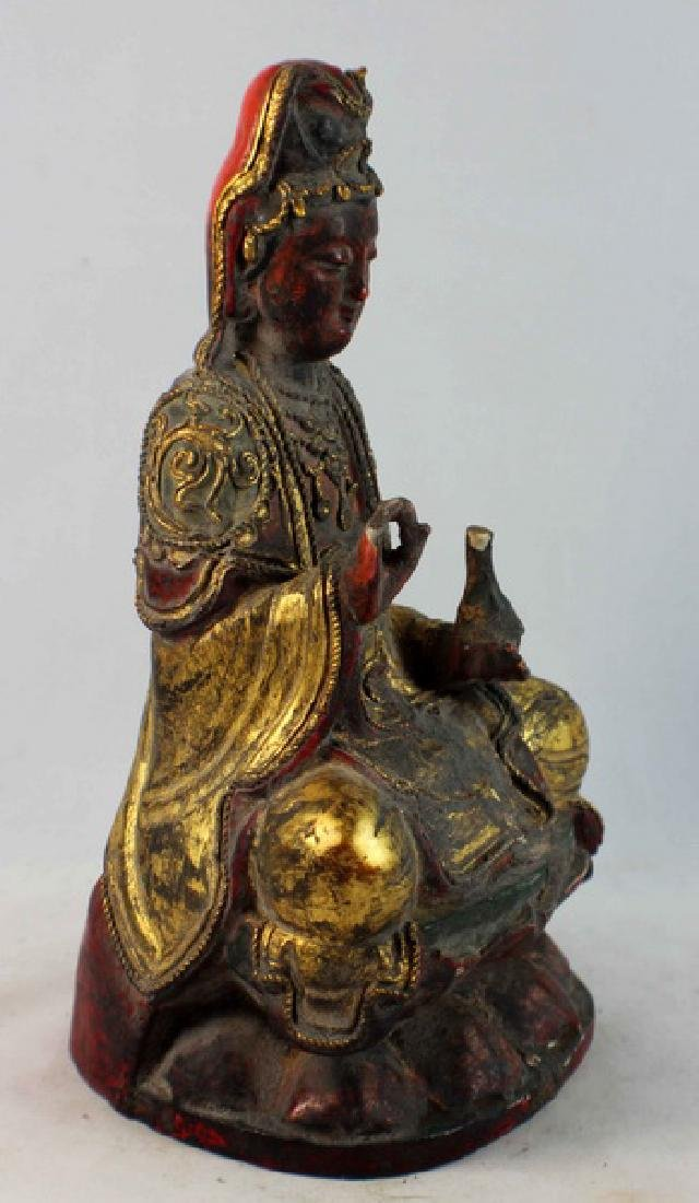 Antique Chinese Carved Gilt Wood Buddha - 6