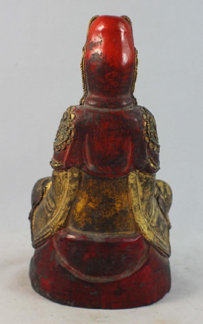 Antique Chinese Carved Gilt Wood Buddha - 7