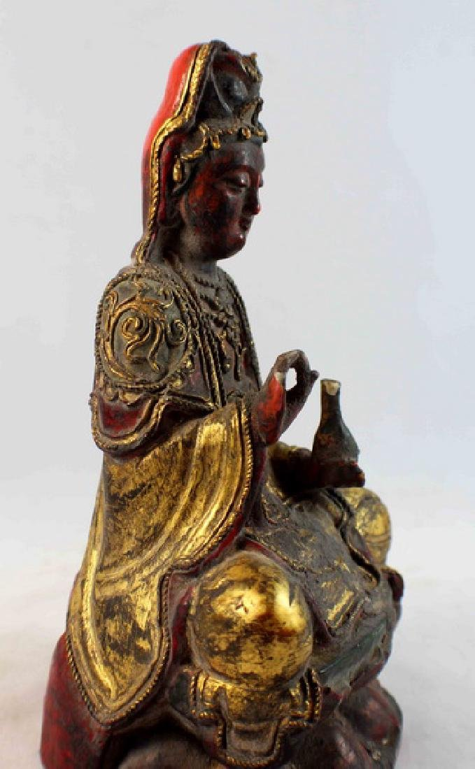 Antique Chinese Carved Gilt Wood Buddha - 8