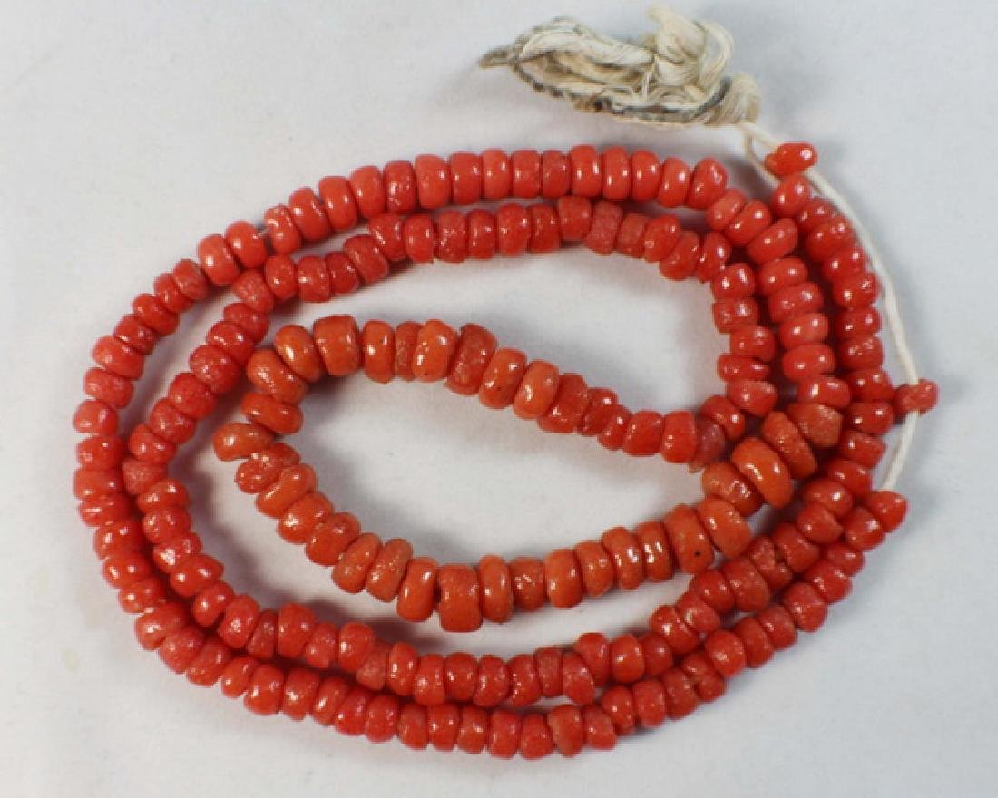 Chinese Carved Red Coral Beads Necklace