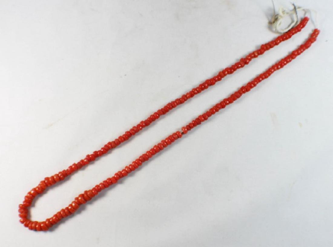Chinese Carved Red Coral Beads Necklace - 2