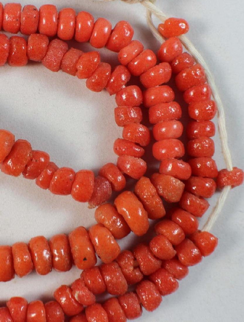 Chinese Carved Red Coral Beads Necklace - 4