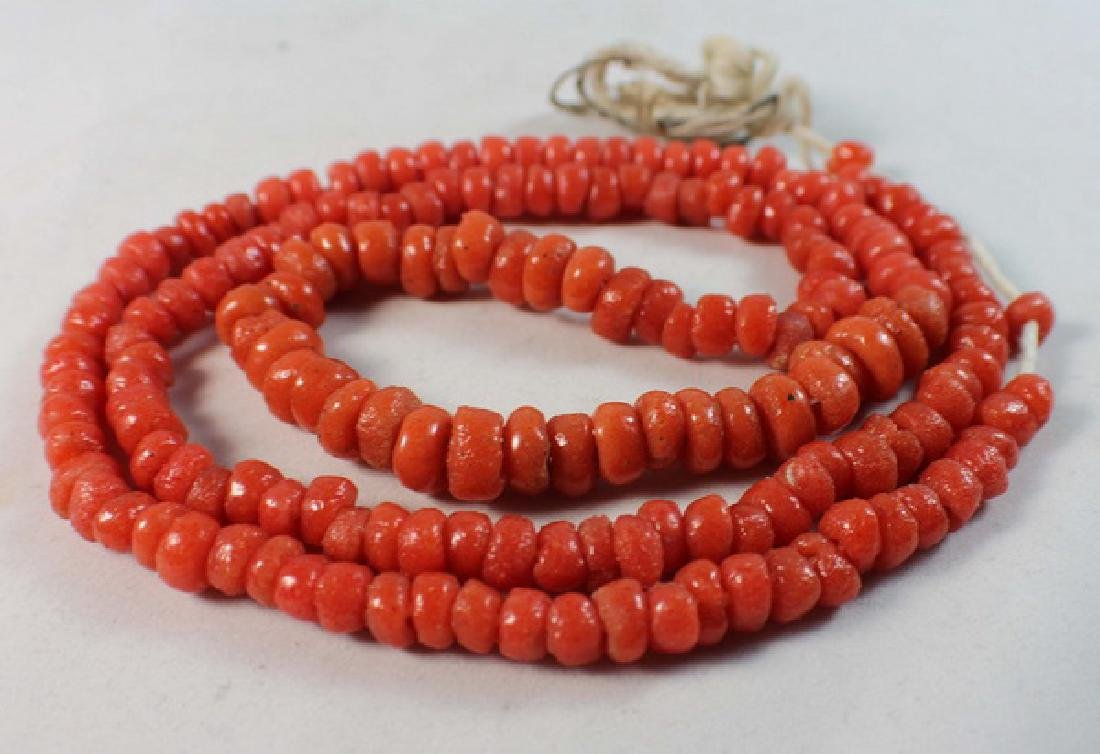 Chinese Carved Red Coral Beads Necklace - 5