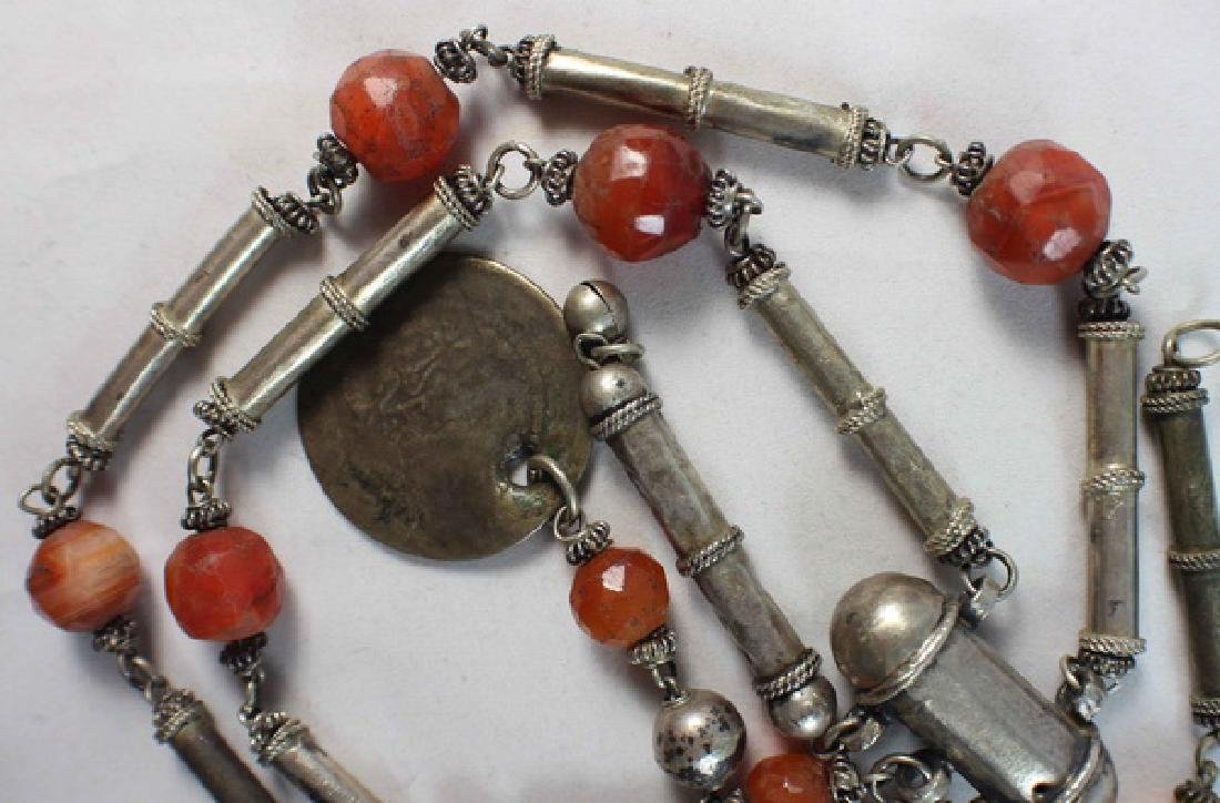 Silver With Agate Beads Necklace - 5