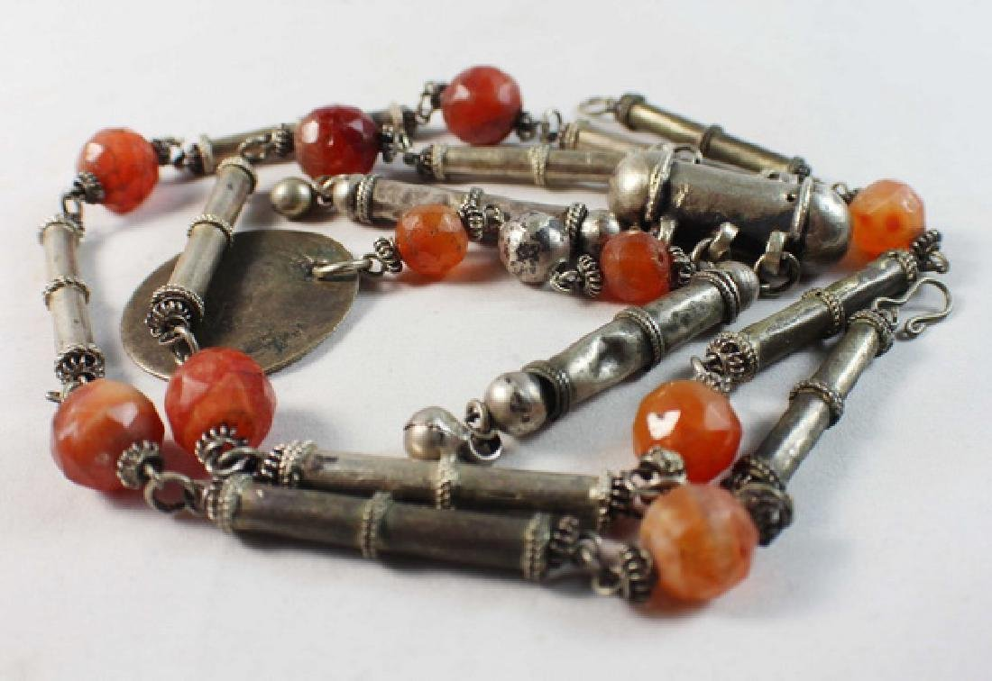 Silver With Agate Beads Necklace - 6