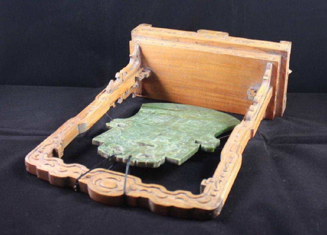 Chinese Carved Jade Table Screen - 8
