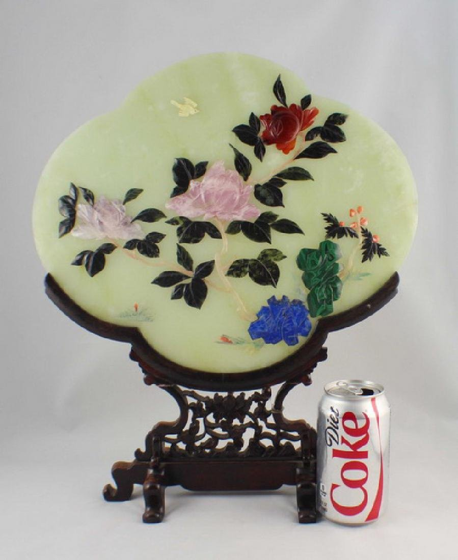 Chinese Carved Jade Table Screen - 2