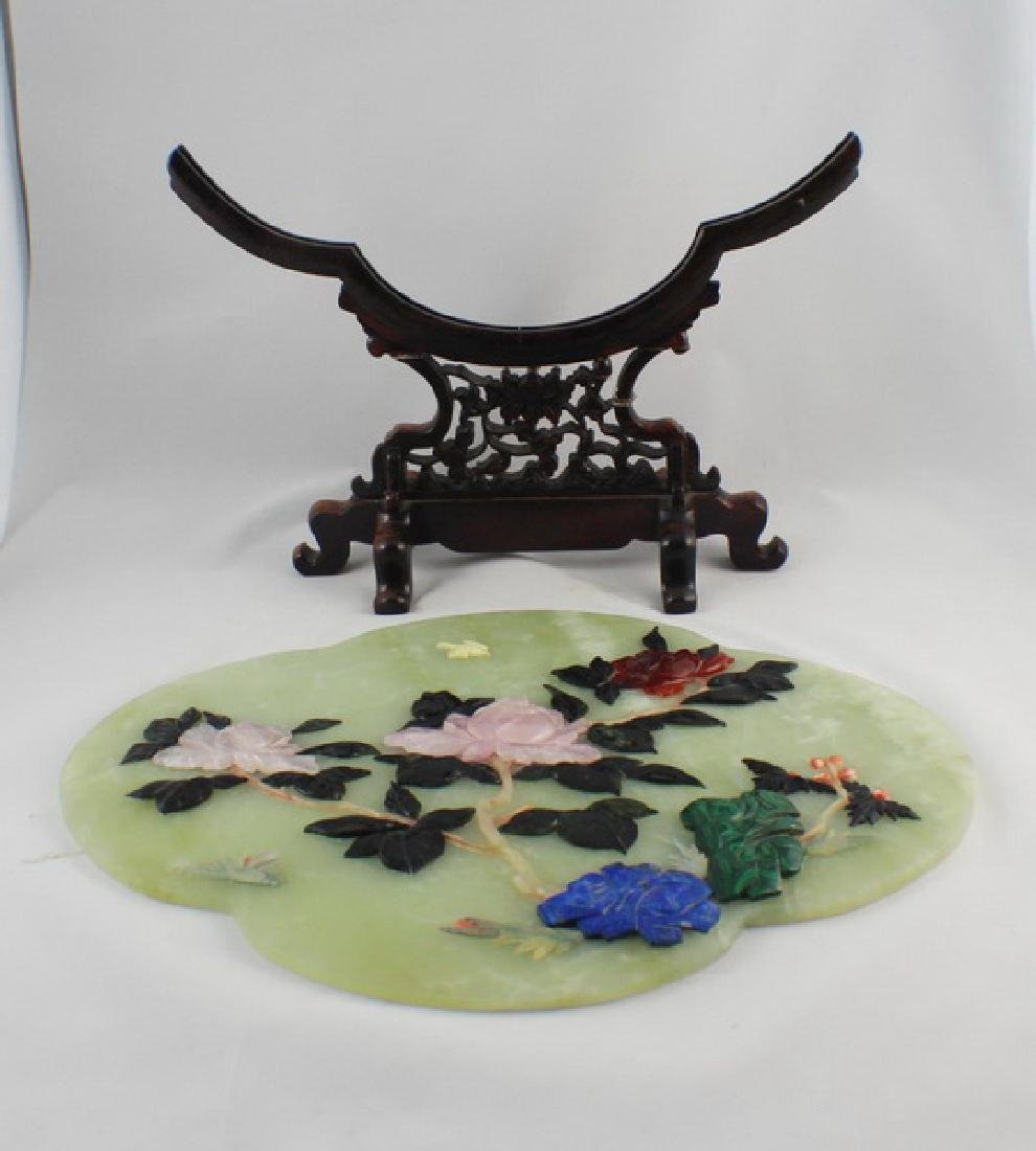 Chinese Carved Jade Table Screen - 9