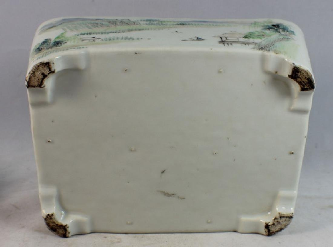 Antique Chinese Porcelain Brush Washer w, Wood Stand. - 10