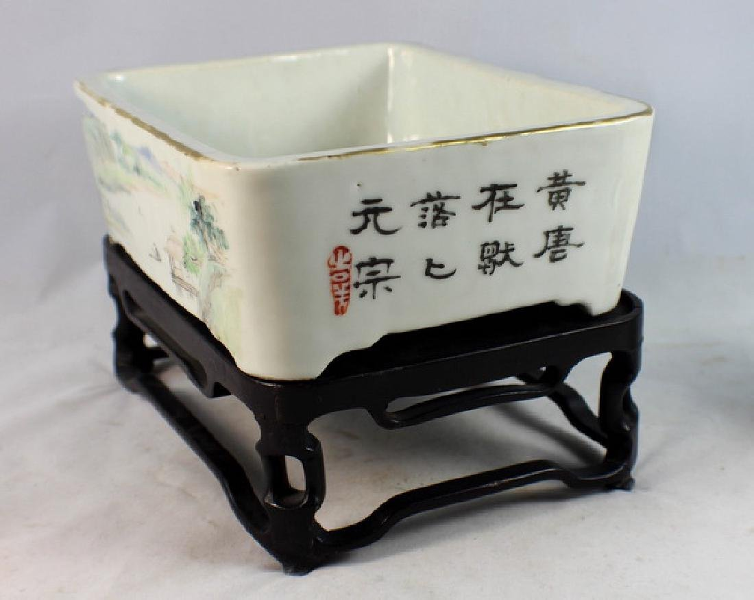 Antique Chinese Porcelain Brush Washer w, Wood Stand. - 3