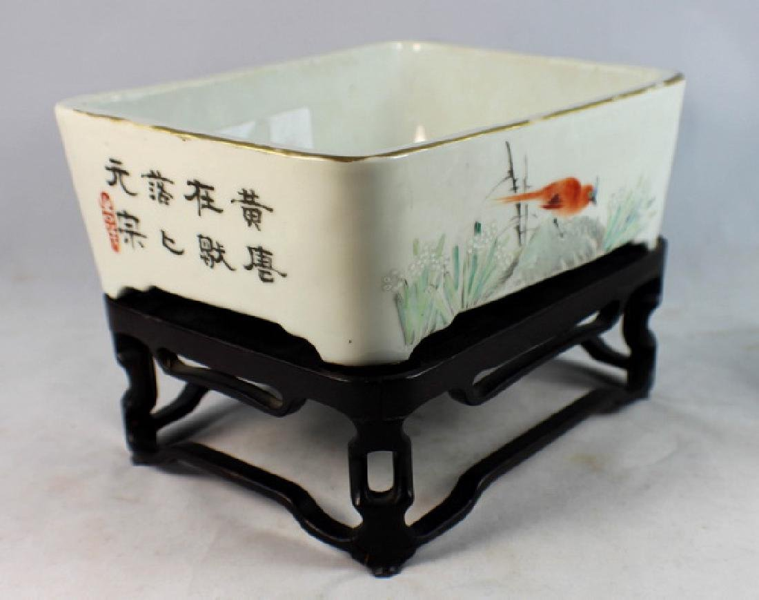 Antique Chinese Porcelain Brush Washer w, Wood Stand. - 4