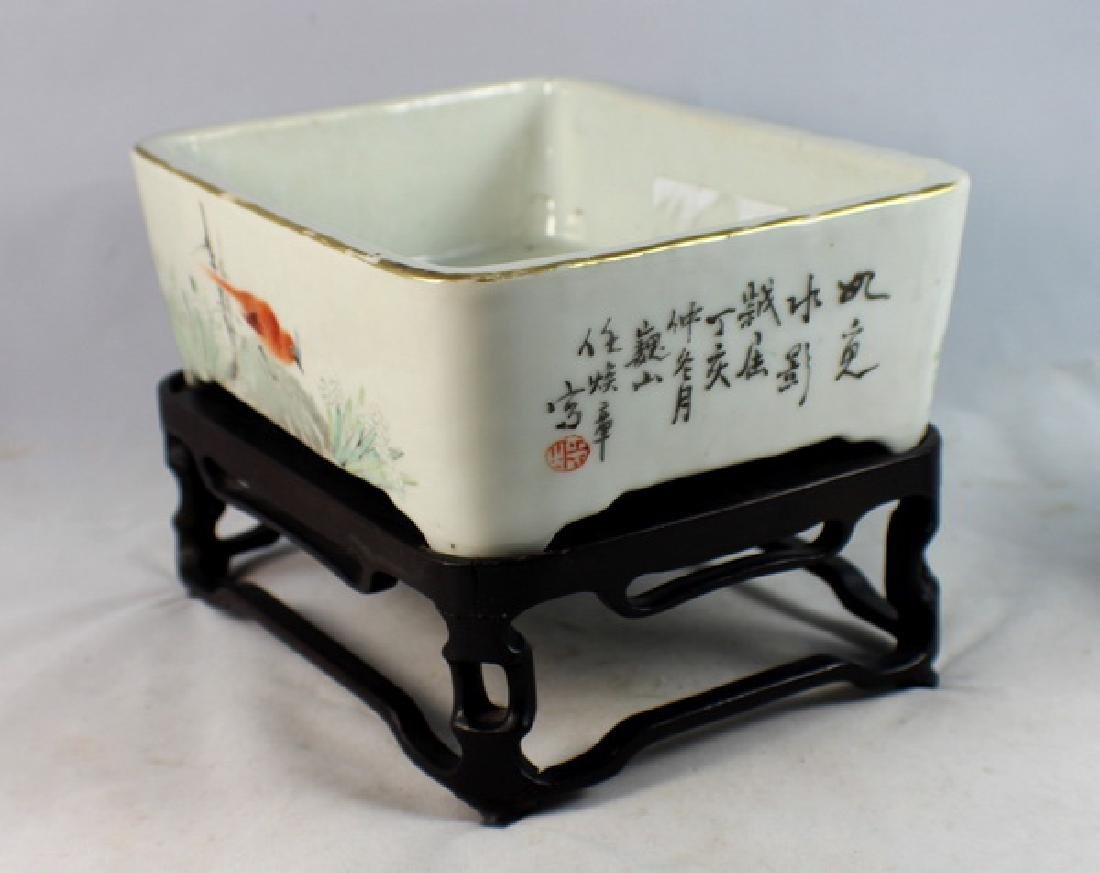 Antique Chinese Porcelain Brush Washer w, Wood Stand. - 5