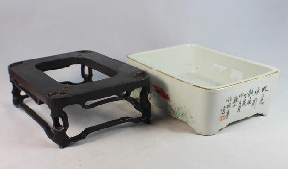Antique Chinese Porcelain Brush Washer w, Wood Stand. - 7