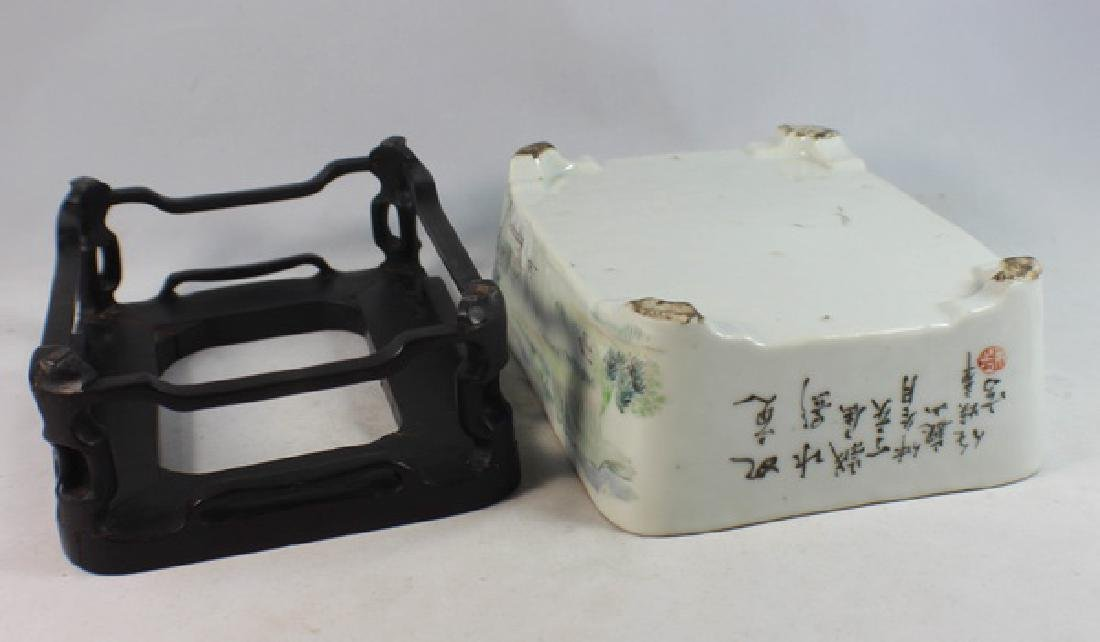 Antique Chinese Porcelain Brush Washer w, Wood Stand. - 8