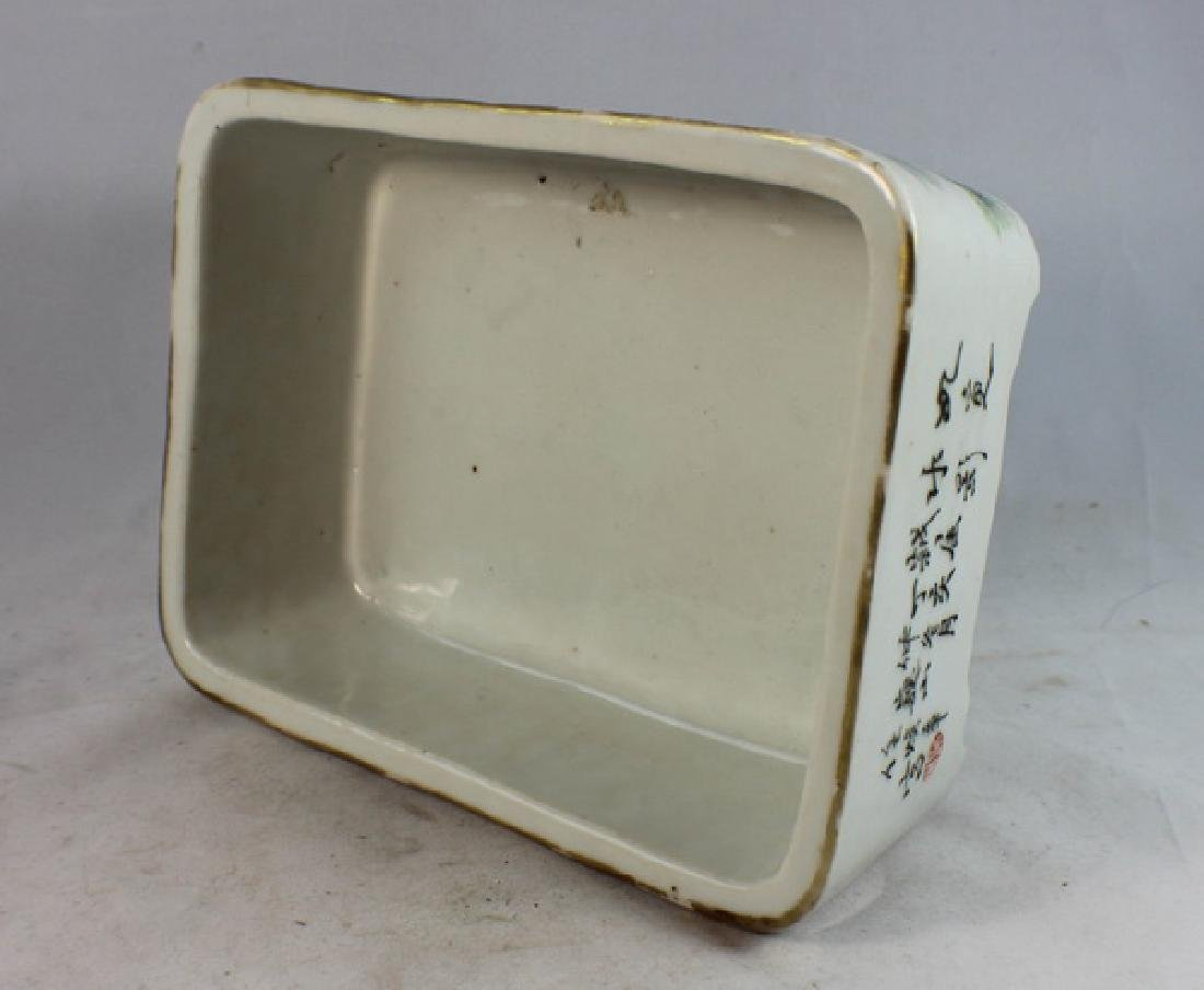 Antique Chinese Porcelain Brush Washer w, Wood Stand. - 9
