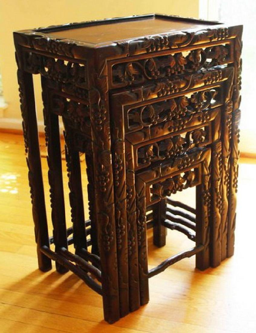 Large Chinese Carved Rosewood Table Set