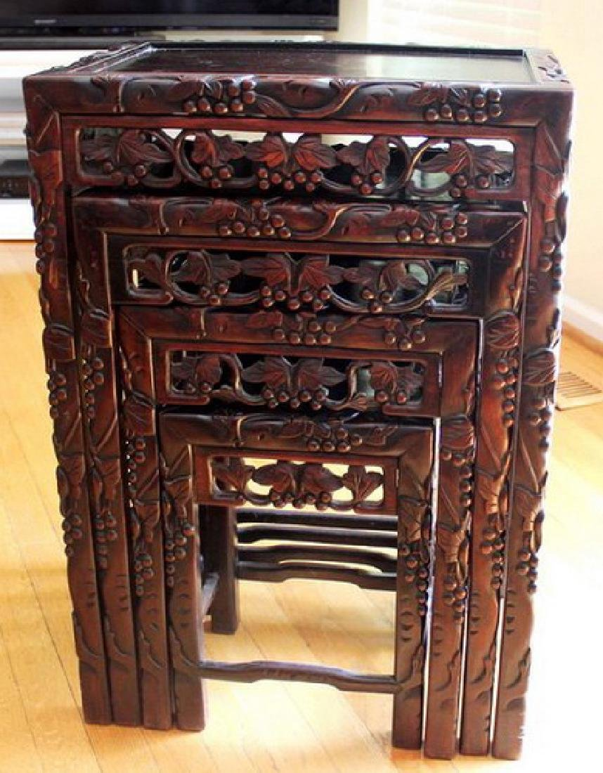 Large Chinese Carved Rosewood Table Set - 2