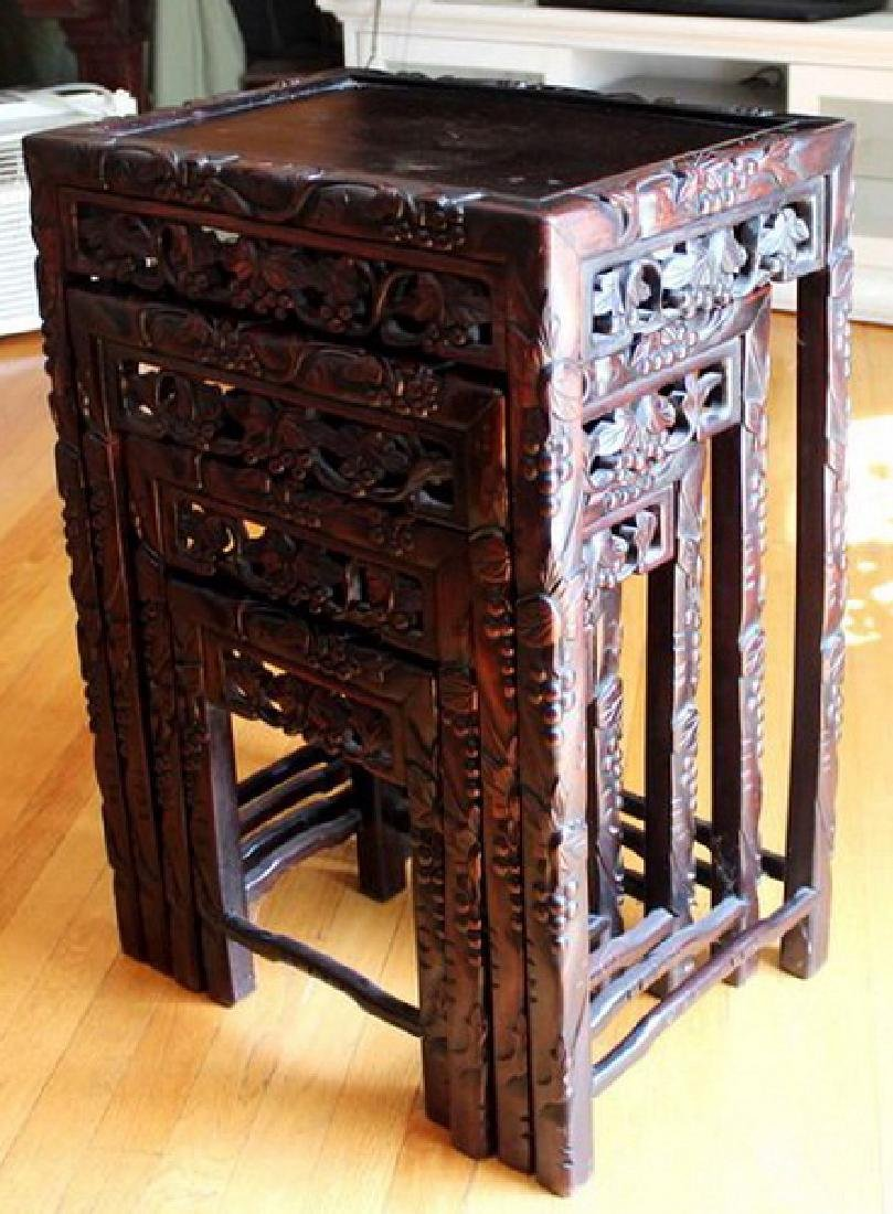 Large Chinese Carved Rosewood Table Set - 3