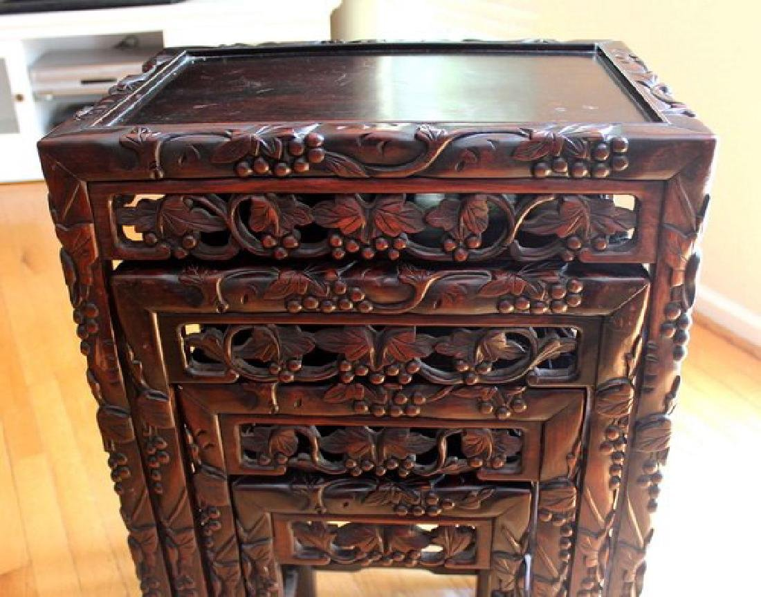 Large Chinese Carved Rosewood Table Set - 4