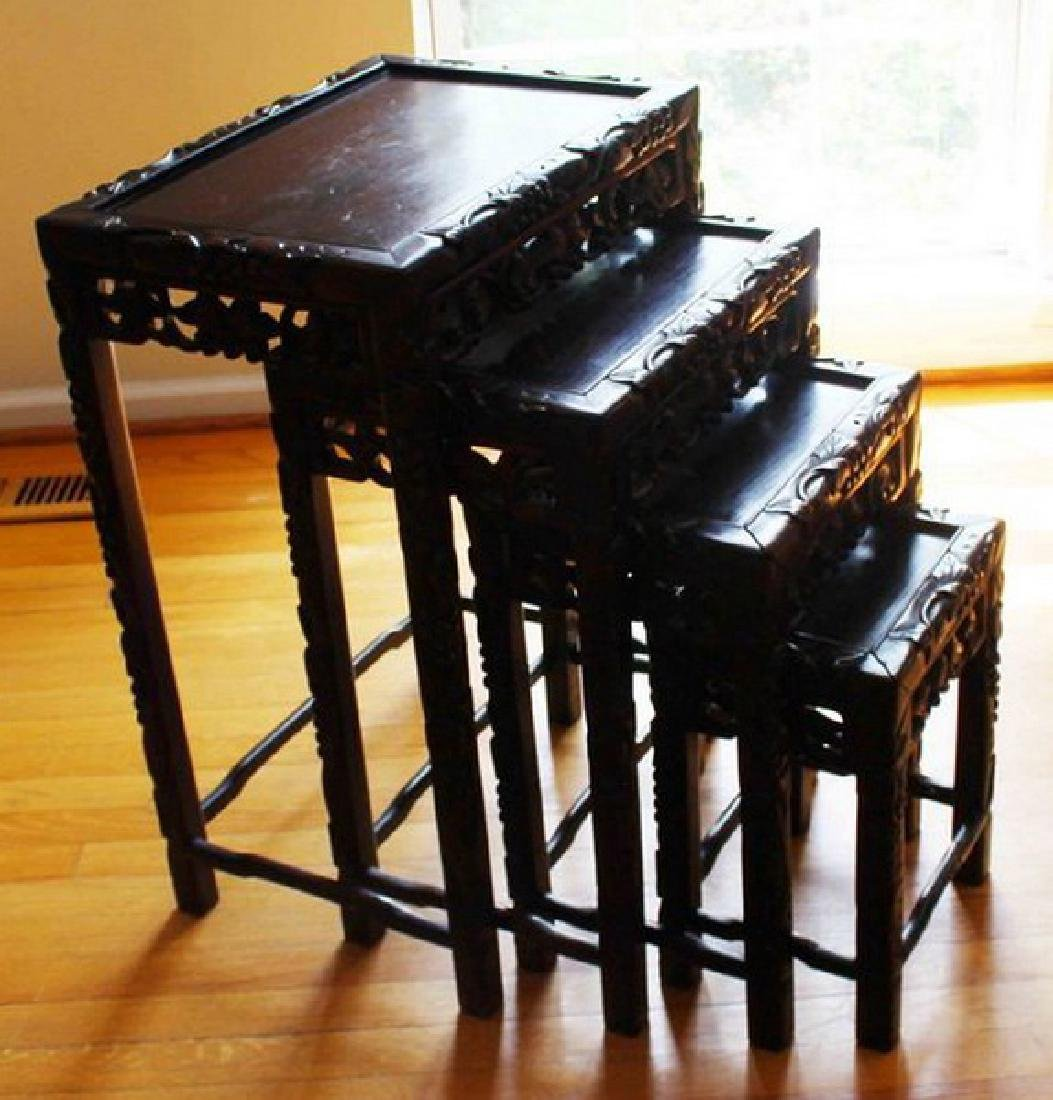 Large Chinese Carved Rosewood Table Set - 6