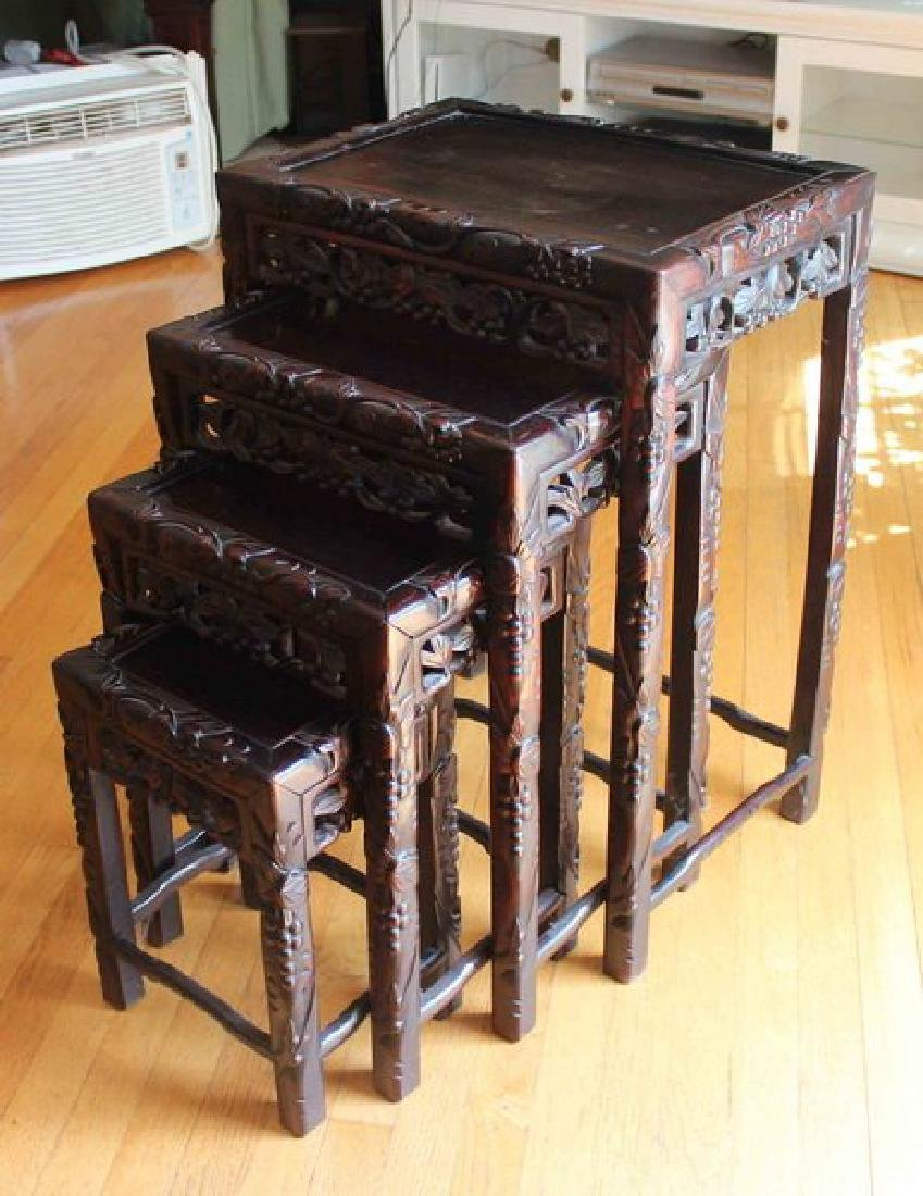 Large Chinese Carved Rosewood Table Set - 7