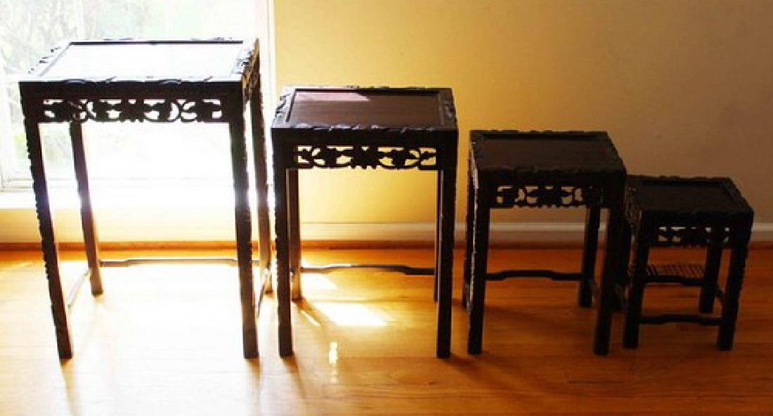 Large Chinese Carved Rosewood Table Set - 8