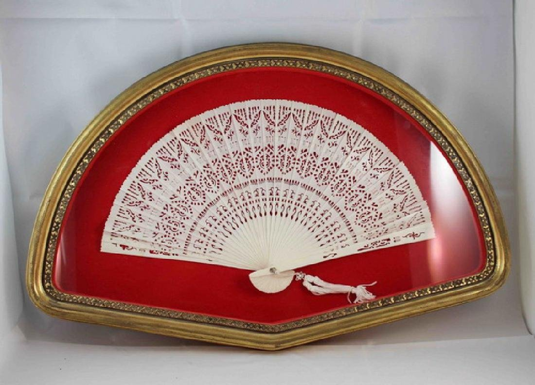 Chinese Carved Bone Fan With Frame