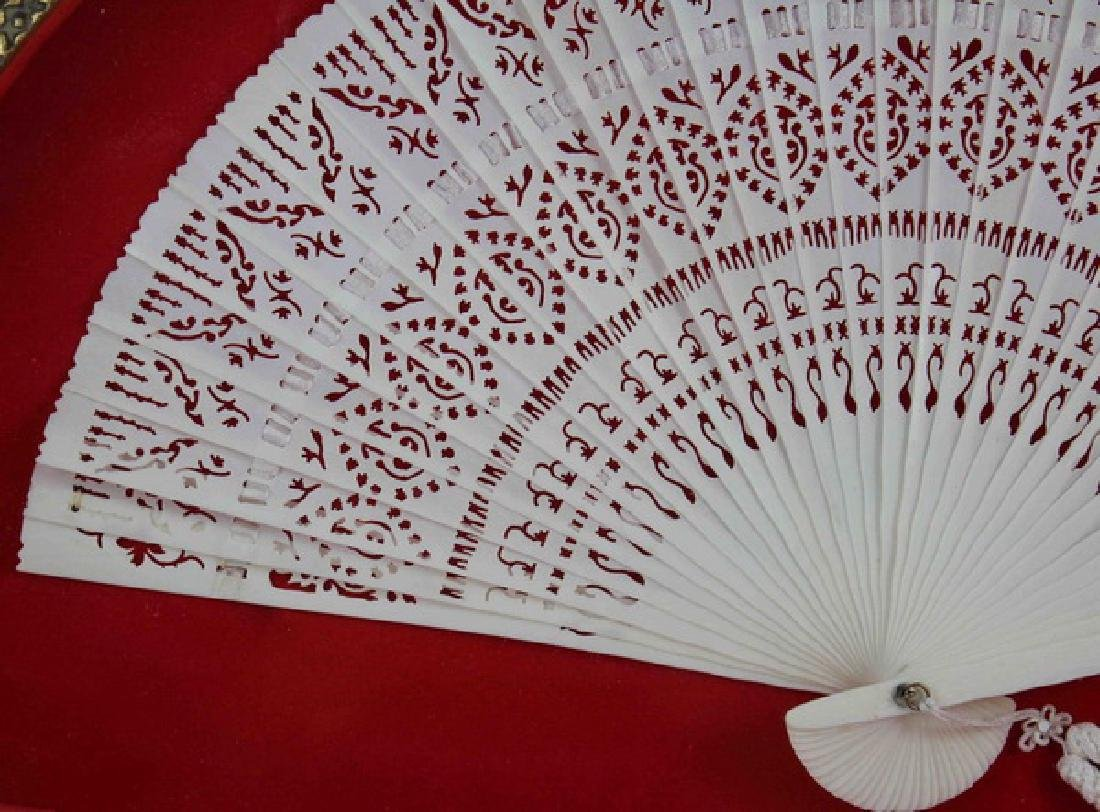 Chinese Carved Bone Fan With Frame - 3