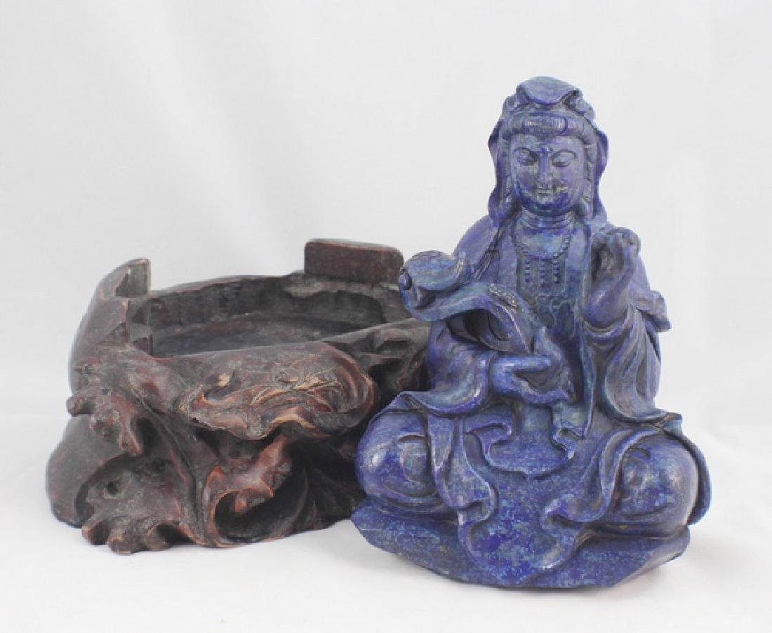 Chinese Carved Lapis Lazuli Statue Of Buddha - 9