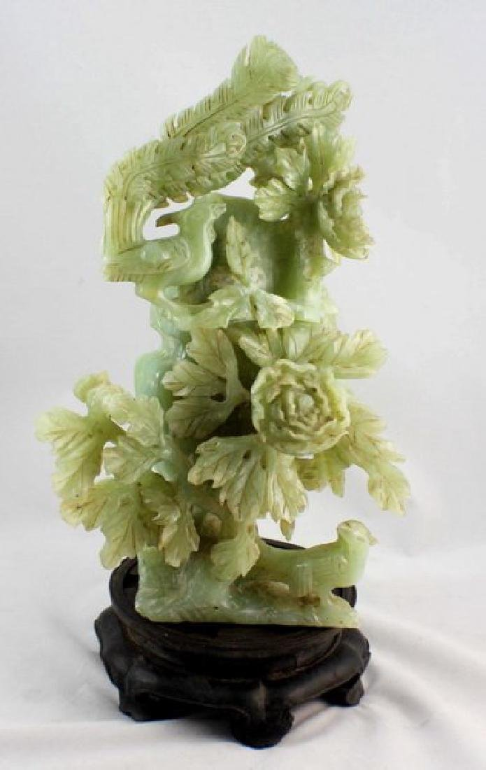 Chinese Carved Jade Vase W/Wood Stand