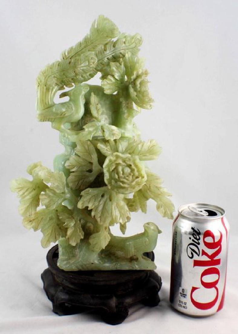 Chinese Carved Jade Vase W/Wood Stand - 2