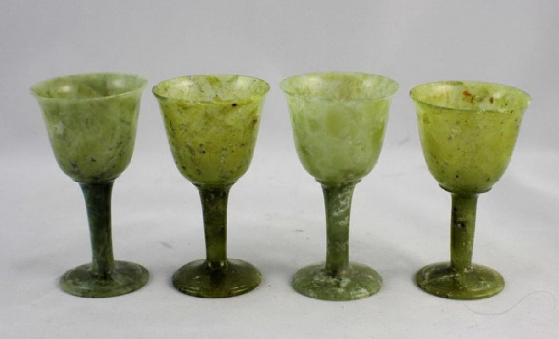 Lot Of 4 Chinese Carved Green Jade Cups