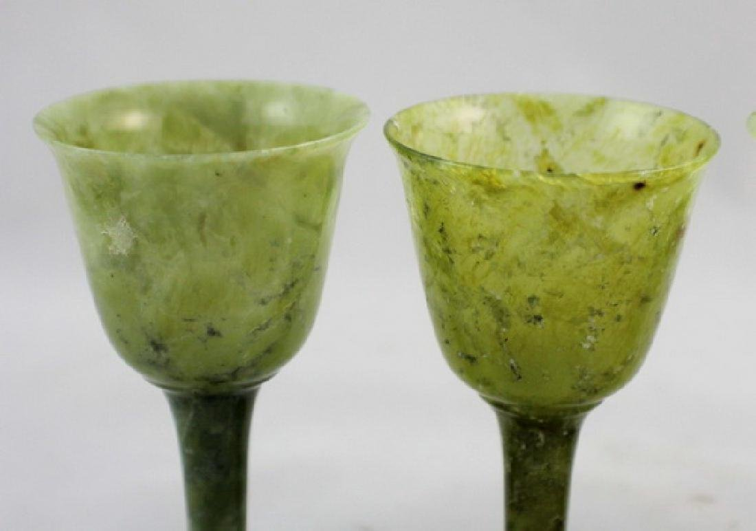 Lot Of 4 Chinese Carved Green Jade Cups - 2