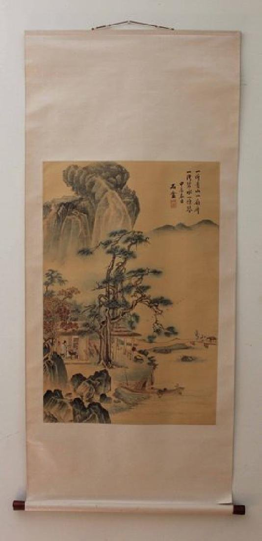 Chinese Water Color Painted On Silk Scroll
